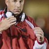 WARREN DILLAWAY / Star Beacon<br /> JIM HENSON, Jefferson footbal coach, patrols the sidelines on Friday night during a home game with Edgewood.