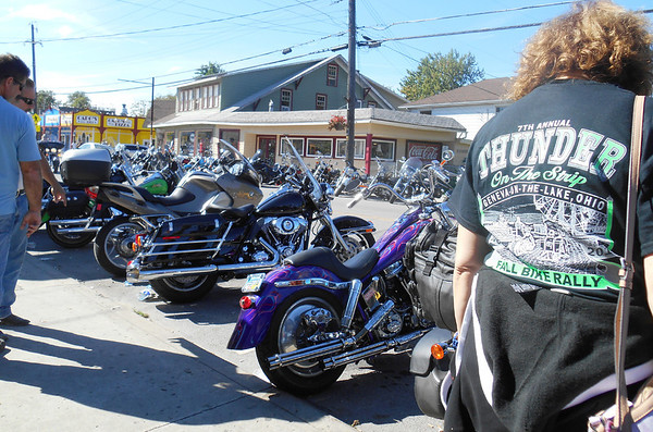 DEVASTASHA BEAVER / Star Beacon<br /> MOTORCYCLES LINE the strip at Geneva-on-the-Lake on Sunday during the final day of Thunder on the Strip Bike Rally.