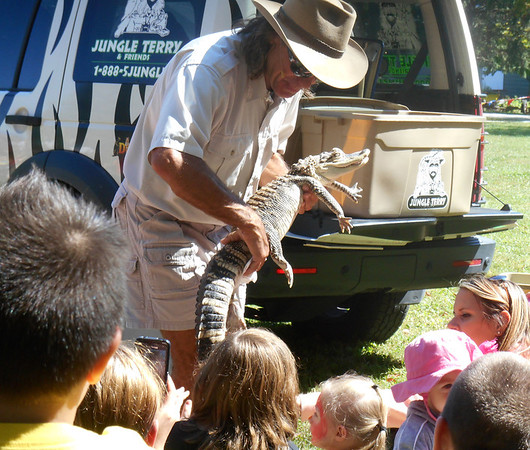 DEVASTASHA BEAVER / Star Beacon<br /> JUNGLE TERRY shows an alligator to a group of children at Austinburg Country Days on Sunday in Austinburg Township.