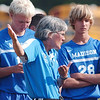 WARREN DILLAWAY / Star Beacon<br /> SUE BLABOLIL, Madison boys soccer coach, instructs her team Tuesday afternoon at Edgewood.