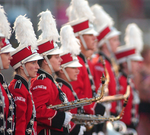 WARREN DILLAWAY / Star Beacon<br /> MEMBERS OF the Geneva band prepare to take the field Friday during a home game at Spire Institute.