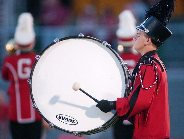WARREN DILLAWAY / Star Beacon<br /> BOBBY SCHAEFFER plays drums for the Geneva High School band Friday night during halftime of the Edgewood football game at Spire Institute.