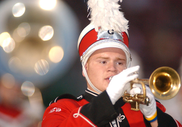 WARREN DILLAWAY / Star Beacon<br /> MATT LOGSDON plays the trumpet for the Geneva High School band Friday night during halftime of the Edgewood football game at Spire Institute.