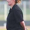 WARREN DILLAWAY / Star Beacon<br /> KATIE CARTER, Jefferson girls soccer coach, instructs her team Monday during a home game with Newton Falls.