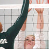 WARREN DILLAWAY / Star Beacon<br /> ANNA APPLEBEE (14) of Edgewood leaps to block a spike by Lakeside's Sharisse Hunt Tuesday at Edgewood.