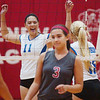 WARREN DILLAWAY / Star Beacon<br /> ALIE PENNA of Geneva (3) is dejected as Madison's Haley Hake (11) and Ally Klimko (15) celebrate after a point Thursday at Geneva.