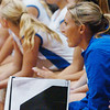 WARREN DILLAWAY / Star Beacon<br /> BRYNN RYAN, Madison volleyball coach, watches the action Thursday evening during a match at Geneva.