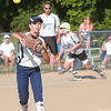WARREN DILLAWAY / Star Beacon<br /> KELSEYRAE BURDETTE of Conneaut fires to first as Grand Valley's Dani Shreve leaves third for home Monday evening during 11 and 12 year old All Star action at Skippon Park in Conneaut.