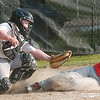WARREN DILLAWAY / Star Beacon<br /> ALEC KATON of Ashtabula  slides safely home as Geneva United catcher Michael Cooper loses the ball Monday evening during a District 1 9 and 10 year old All Star game at Carraher field in Geneva Monday evening.