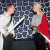 WARREN DILLAWAY / Star Beacon<br /> DAVID STOUFFER (left), Mercutio, and Quinn Yokie, Tibalt, duel it out during Romeo and Juliet at the Harbor Playhouse Theatrical Co-op.