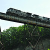 CARL E. FEATHER / Star Beacon<br /> A NORFOLK Southern train crawls along the steel bridge over the Ashtabula River Gulf.