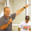 WARREN DILLAWAY / Star Beacon<br /> DEAN HOOD, head football coach at Eastern Kentucky University and Harbor High School graduate, addresses 200 students during a free football camp at SPIRE Institute in Harpersfield Township Thursday morning.