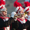 WARREN DILLAWAY / Star Beacon<br /> THE EDGEWOOD marching band horn section performs prior to their home game with Jefferson Friday night.