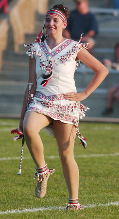 WARREN DILLAWAY / Star Beacon<br /> AMBRIAH CAMPBELL, Edgewood majorette, performs Friday before the Warriors home game with Jefferson.