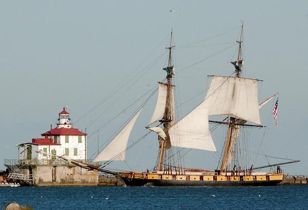 WARREN DILLAWAY / Star Beacon<br /> THE RE-CONSTRUCTED Flagship Niagara cruises into Ashtabula Harbor Tuesday morning on the way to War of 1812 festivities in Buffalo.