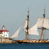 WARREN DILLAWAY / Star Beacon<br /> THE RE-CONSTRUCTED Flagship Niagara cruises into Ashtabula Harbor Tuesday morning on the way to War of 1812 festivities in Buffalo.