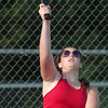 WARREN DILLAWAY / Star Beacon<br /> SARA BROOK of Jefferson serves Thursday during a first doubles match at Lakeside.