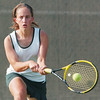 WARREN DILLAWAY / Star Beacon<br /> KAYLA JOHNSTON of Lakeside returns the ball Thursday during a second singles home match with Jefferson.