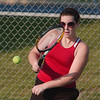 WARREN DILLAWAY / Star Beacon<br /> SARA BROOK of Jefferson returns a volley Thursday during a first doubles match at Lakeside.