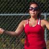 WARREN DILLAWAY / Star Beacon<br /> KAYLEEN ALTMAN returns a volley Thursday during a first doubles match at Lakeside.