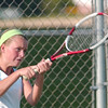 WARREN DILLAWAY / Star Beacon<br /> ASHLEY GRAN of Lakeside returns a volley  Thursday during a first doubles home match with Jefferson.