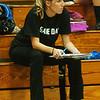 WARREN DILLAWAY / Star Beacon<br /> BRYNN RYAN, Madison volleyball coach, watches thea ction Tuesday night at Conneaut's Garcia Gymnasium.