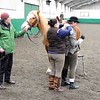 Side-saddle ... it's a team effort ...