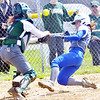 WARREN DILLAWAY / Star Beacon<br /> EMILY BYLER (right) of Grand Valley beats the throw as Nikki Kelly of Lakeside reaches for the throw on Saturday in Orwell.