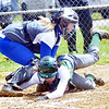 WARREN DILLAWAY / Star Beacon<br /> CHAR MILLER of Grand Valley tags Ana Presciano of Lakeside out at the plate on Saturday during a game in Orwell.