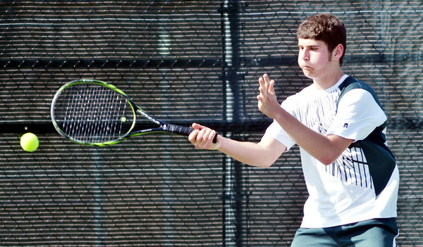 WARREN DILLAWAY / Star Beacon<br /> SPENCER SELLMAN plays first singles for Lakeside during a home  match with Jefferson.