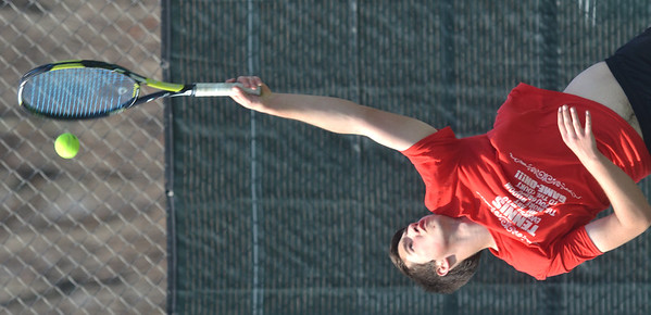 WARREN DILLAWAY / Star Beacon<br /> EMERY BUCHAN plays first singles for Jefferson during match with Jefferson.