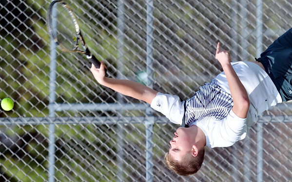 WARREN DILLAWAY / Star Beacon<br /> CLARK HEATH plays second singles for Lakeside during a home  match with Jefferson.