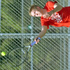 WARREN DILLAWAY / Star Beacon<br /> BRANDON SKUZA plays second singles for Jefferson on Monday at Lakeside.