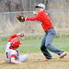 WARREN DILLAWAY / Star Beacon<br /> MITCHELL DRAGON (with ball) of Edgewood tries to turn a double play aaas Geno Barricello of Niles slides into second base on Tuesday at Edgewood.