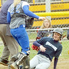 WARREN DILLAWAY / Star Beacon<br /> BRIANNA OATMAN of Conneaut slides safely home as Shar Miller of Grand Valley (22) was unable to grab an errant throw on Thursday at Grand Valley.
