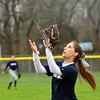 WARREN DILLAWAY / Star Beacon<br /> TAYA HIGLEY of Conneaut prepares to grab a pop fly at second base on Thursday during a game at Grand Valley.