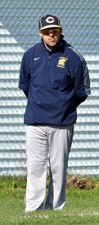 WARREN DILLAWAY / Star Beacon<br /> JIM KNIGHT, Conneaut baseball coach, watches the action on Friday during a home game with Conneaut.