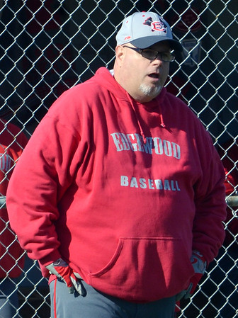WARREN DILLAWAY / Star Beacon<br /> BILL LIPPS, Edgewood baseball coach, reacts to a play on the field on Friday during a home game with Conneaut.
