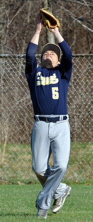 WARREN DILLAWAY / Star Beacon<br /> TROY COLUCCI, Conneaut centerfielder, makes a catch on Friday afternoon at Edgewood.