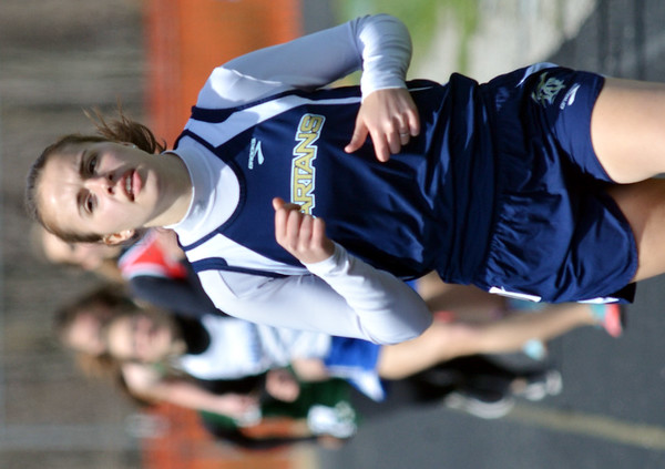 WARREN DILLAWAY / Star Beacon<br /> SIERRA TAYLOR of Conneaut wins the 800 meter run on Saturday during the Pymatuning Valley Invitational in Andover Township.