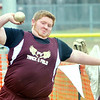 WARREN DILLAWAY / Star Beacon<br /> DILLON MOOK of Pymatuning Valley throws the shot put on Tuesday during a six team track meet at Pymatuning Valley in Andover Township.