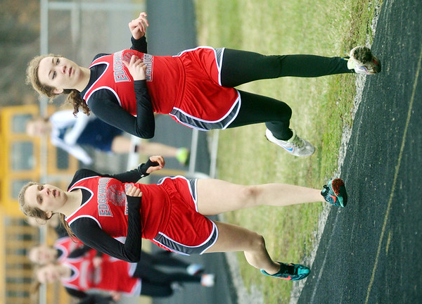 WARREN DILLAWAY / Star Beacon<br /> SAVANNAH SPRING (right) and Edgewood teammate Taylor Roberts lead the 1600 meter run during a six team track meet at Pymatuning Valley on Tuesday afternoon in Andover Township.