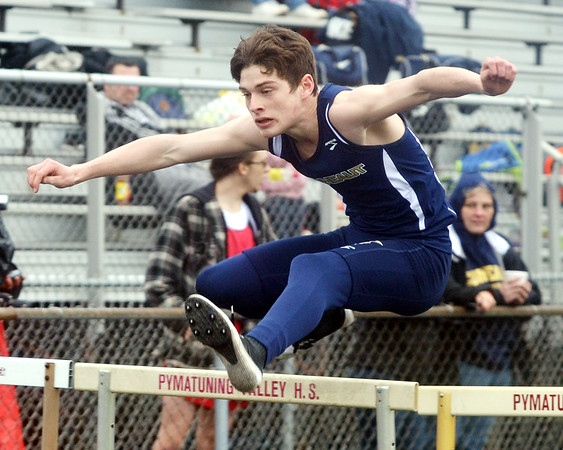WARREN DILLAWAY / Star Beacon<br /> JOSH LEGGETT of Conneaut runs the 110 meter high hurdles  on Tuesday during a six team track meet at Pymatuning Valley in Andover Township.