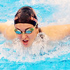 WARREN DILLAWAY / Star Beacon<br /> GIANA VARCHETTA of Edgewood competes in the 200 yard medley relay on Saturday during the Ashtabula County Swim Meet at Spire Institute in Harpersfield Township.