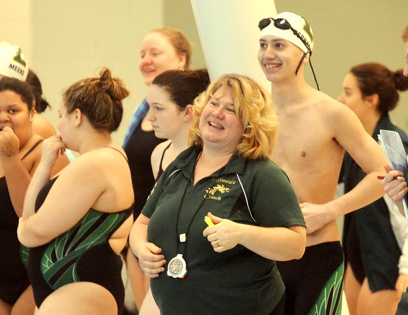 WARREN DILLAWAY / Star Beacon<br /> MAUREEN SURBELLA, Lakeside swim coach, was all smiles as her boys and girls teams won the Ashtabula County Swim Meet on Saturday at Spire Institute in Harpersfield Township.