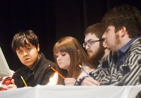 WARREN DILLAWAY / Star Beacon<br /> THE LAKESIDE Scholastic Bowl team (from left) Nathan Lowery, Emily Simpson, Anthony Schoren and Troy Kelly finished second in the 28th Annual Ashtabula County Scholastic Bowl at Pymatuning Valley Performing Arts Center on Monday evening.