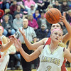 WARREN DILLAWAY / Star Beacon<br /> KELSEA BROWN (3) of Pymatuning Valley follows ttthe ball as Badger defenders Harlee Long (left) and Stacy Elser (10) watch on Monday evening in Andover Township.