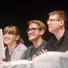 WARREN DILLAWAY / Star Beacon<br /> THE PYMATUNING Valley Scholastic Bowl team (from left) Jessica Jenick, Stevie Urchek, Chad Lynagh and James O'Malley were all smiles on Monday evening after winning the 28th Annual Ashtabula County Scholastic Bowl at the Veterans Memorial Performing Arts Center at Pymatuning Valley High School.
