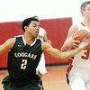 WARREN DILLAWAY / Star  Beacon<br /> JUSTIN ROBINSON (2) of Lake Catholic reaches for the steal as Sam Hitchcock of Jefferson dribbles down court on Tuesday evening in Jefferson.
