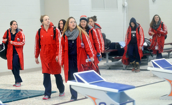 WARREN DILLAWAY / Star Beacon<br /> MEMBERS OF the Richmond University swim team arrive at Spire Institute for a session of the Atlantic 10 championships in Harpersfield Township.